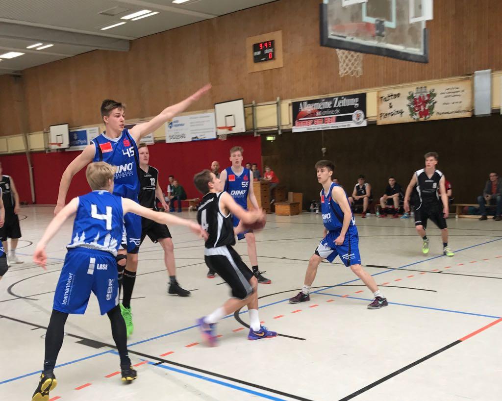 22./23.04.2017: NBV U20-Landesmeisterschaft / Finalspiel ASC 46 Göttingen (blaue Trikots) vs. MTV/BG Wolfenbüttel