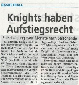 Bericht Aufstiegsrecht Heide Knights vom 19.06.2017