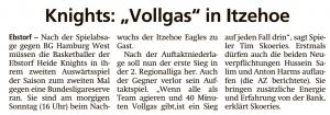 Vorbericht  Ebstorf Heide Knights vom 10.10.2020