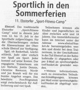 Vorbericht Sport-Fitness-Camp 2018 vom 30.05.2018