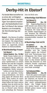 Vorberichte Ebstorf Knights vom 07.12.2019