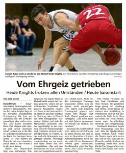 Vorbericht  Ebstorf Heide Knights vom 26.09.2020