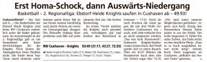 Spielbericht Heide Knights vom 27.01.2020