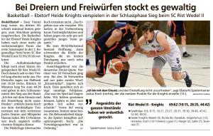 Spielbericht Ebstorf Heide Knights vom 28.09.2020