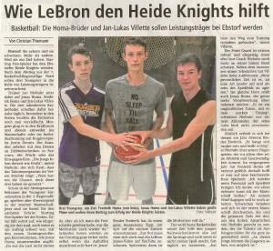Bericht Nachwuchsspieler bei den Heide Knights vom 22.08.2018