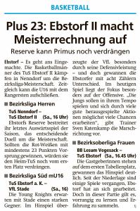 Vorberichte Ebstorf Knights vom 29.02.2020