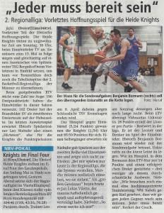 Vorbericht Auswärtsspiel Heide Knights vom 01.04.2017
