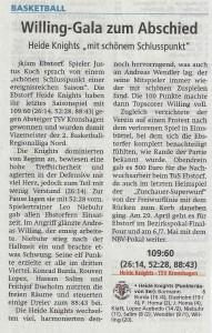 Spielbericht Heimspiel Heide Knights vom 10.04.2017