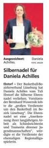 Bericht Ehrung Daniela Achilles vom 02.04.2019