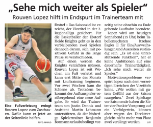 Vorbericht  Ebstorf Heide Knights vom 06.04.2019