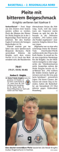 Spielbericht Heide Knights vom 08.04.2019