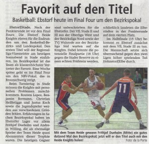 Vorbericht BBL-Pokal Heide Knights vom 29.04.2017